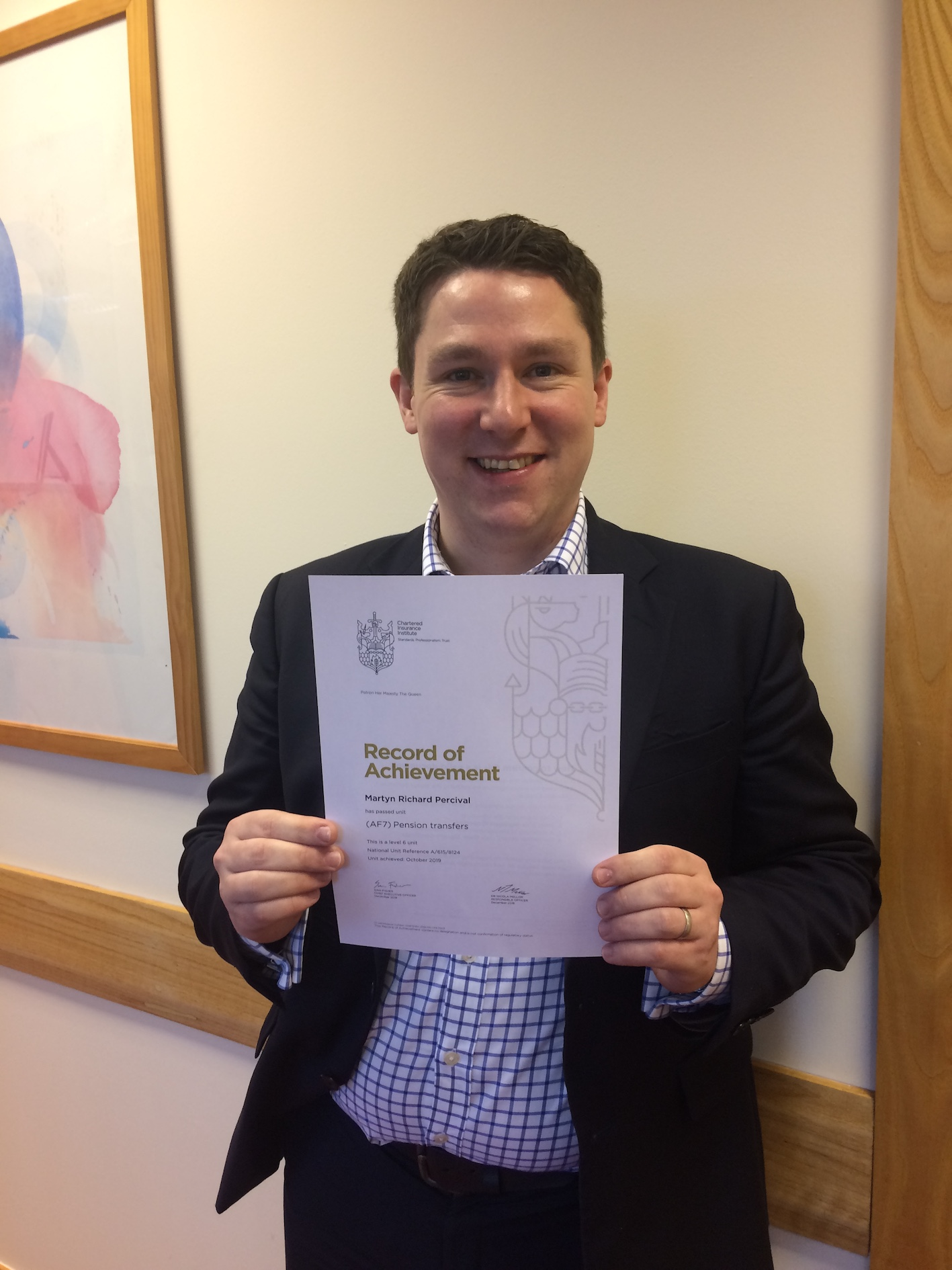 Martin Percival passes Pension Transfer Exam